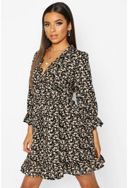 Black Floral Ruffle Sleeve Skater Dress