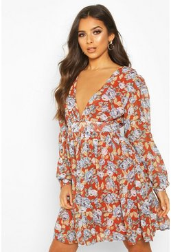 Womens Rust Floral Plunge Skater Dress