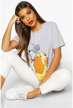 Womens Grey Disney Lady & The Tramp Printed T-shirt