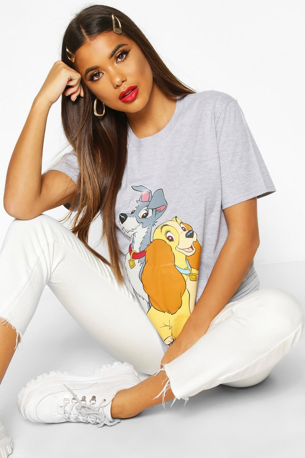 Códigos promocionales extremadamente único varios tipos de Camiseta estampada de La Dama y el Vagabundo de Dinsey | Boohoo