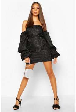Womens Black Jacquard Mini Skirt