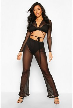 Womens Black Tie Front Mesh Crop & Wide Leg Trouser Co-Ord