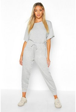 Womens Grey Oversized T-Shirt & Jogger Co-Ord
