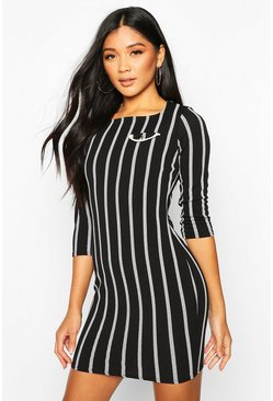 Black Striped Mini Dress With Mock Pocket