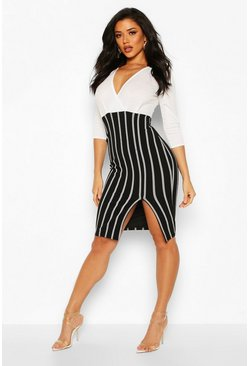 Womens Cream Striped Contrast Wrap Front Bodycon Dress