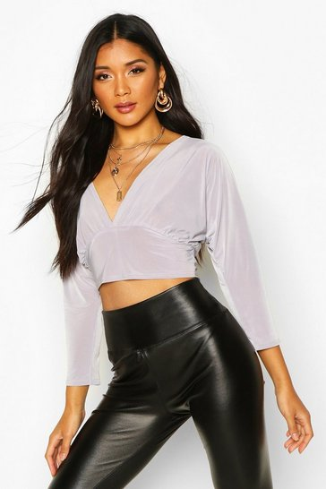 Grey Deep V Front Batwing Top