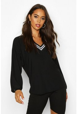 Womens Black Deep Striped V Neck Slouched Top