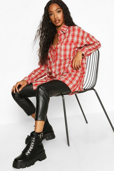 Womens Red Woven Oversized Pocket Detail Check Shirt