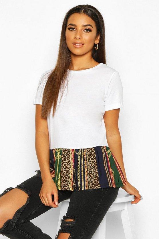 Chain Print Woven Peplum T-Shirt