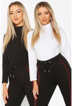 Dam Blackwhite 2 Pack Long Sleeve Roll Neck Top