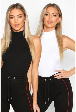 Womens Blackwhite 2 Pack Sleevless Roll Neck Top