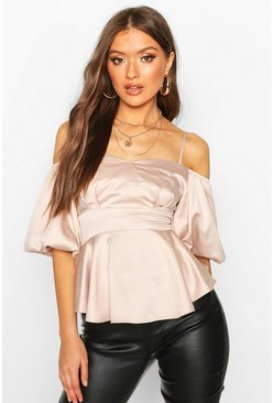 Womens Nude Satin Puff Sleeve Peplum Top