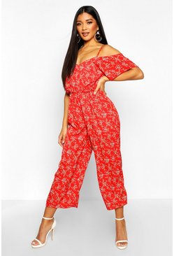 Womens Green Floral Cold Shoulder Cropped Jumpsuit