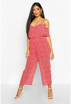 Red Floral Cold Shoulder Cropped Jumpsuit