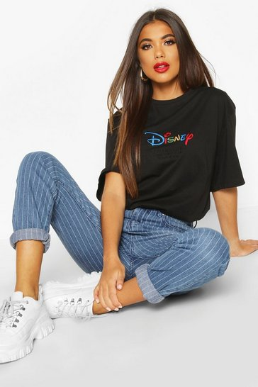Womens Black Disney AW19 Season Embroidered T-shirt