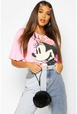 Womens Pink Disney Acid Wash Minnie T-shirt