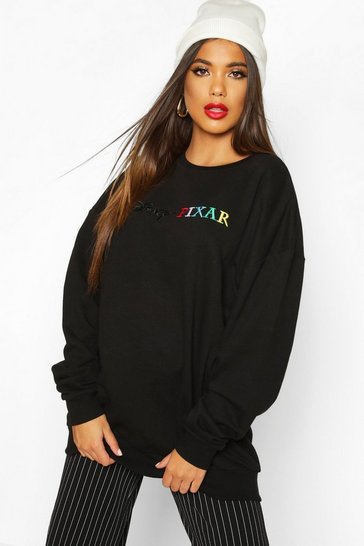 Womens Black Disney Pixar Embroidered Sweat
