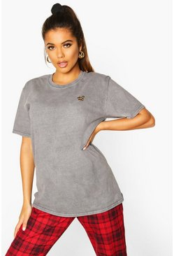 Grey Disney Leopard Mickey Slogan T-shirt