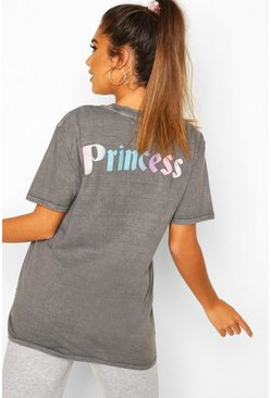 Grey Disney Princess Washed Slogan T-shirt