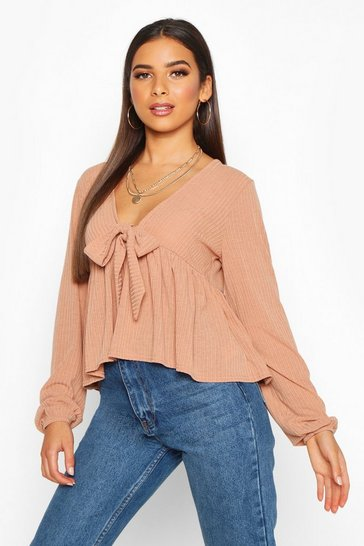 Womens Camel Rib Tie Front Smock Peplum Top