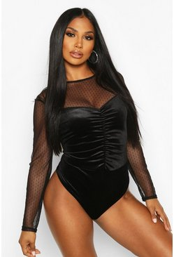 Womens Black Velvet Ruched Front Dobby Mesh Body