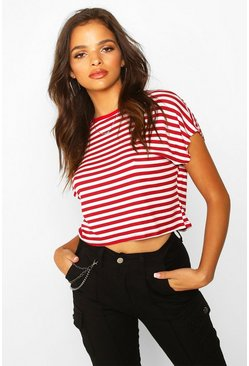 Womens Red Striped Cropped Ringer T-Shirt