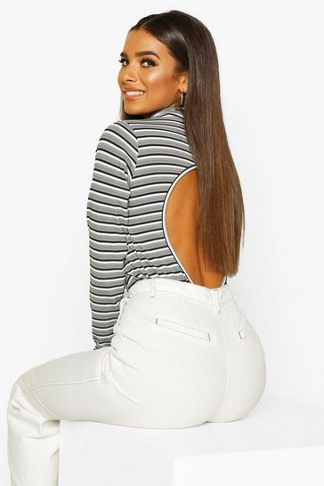 Womens White Stripe High Neck Open Back Top