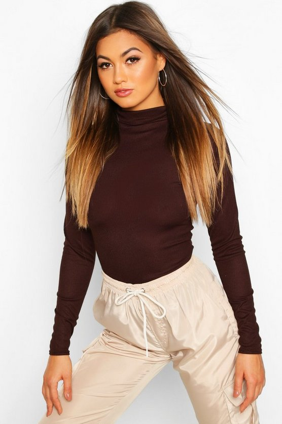 Womens Chocolate Rib Knit Roll Neck Long Sleeve Bodysuit