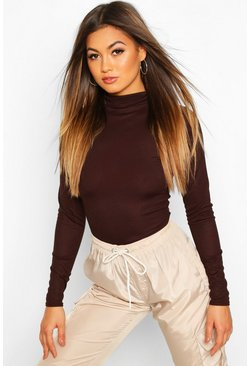 Chocolate Rib Knit Roll Neck Long Sleeve Bodysuit