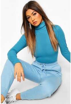 Teal Rib Knit Roll Neck Long Sleeve Bodysuit