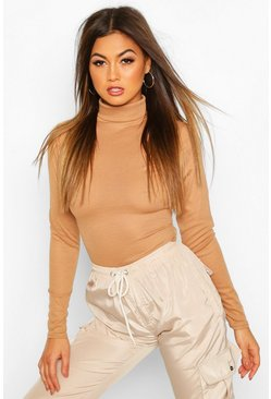 Womens Toffee Rib Knit Roll Neck Long Sleeve Bodysuit
