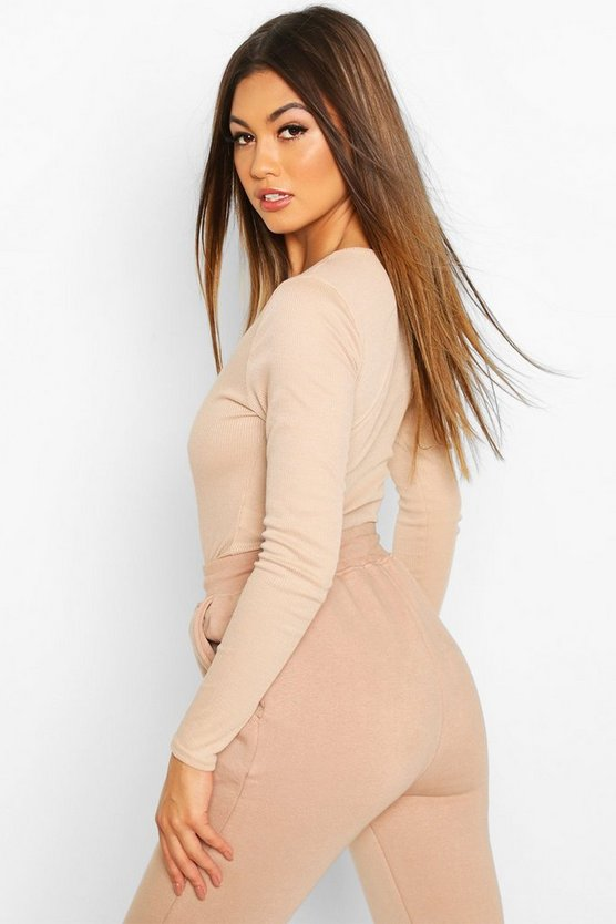 Rib Knit Crew Neck Long Sleeve Bodysuit