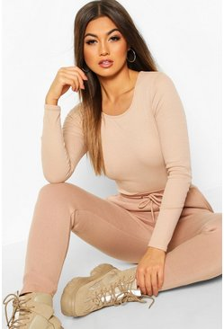 Stone Rib Knit Crew Neck Long Sleeve Bodysuit