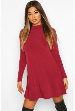 Berry Soft Knit Turtle Neck Long Sleeve Swing Dress