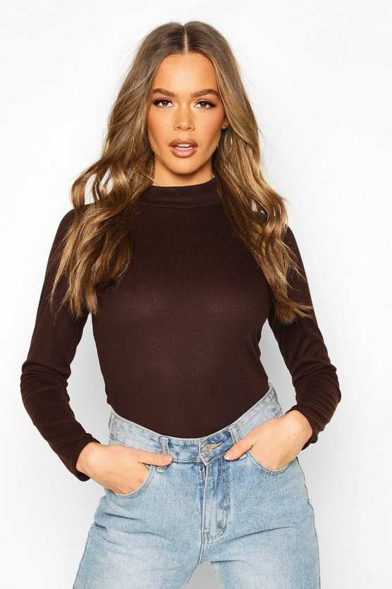 Rib Knit Turtle Neck Long Sleeve Top