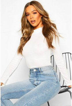 Cream Rib Knit Turtle Neck Long Sleeve Top