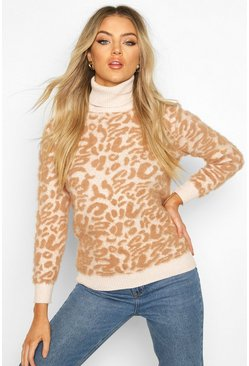 Brown High Neck Fluffy Sweater