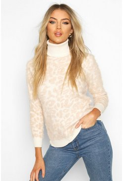 Stone High Neck Fluffy Jumper