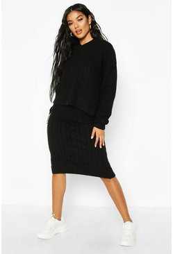 Womens Black Cable Knit Skirt Co-ord Set