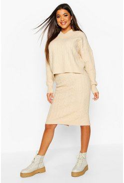 Womens Cream Cable Knit Skirt Co-ord Set