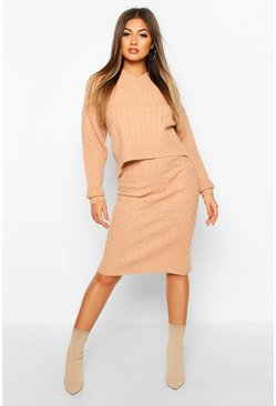 Sand Cable Knit Skirt Co-ord Set