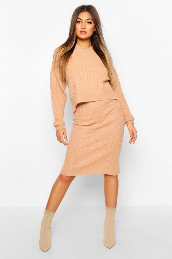 Cable Knit Skirt Co-ord Set