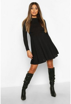 Womens Black Soft Knit High Neck Long Sleeve Skater Dress
