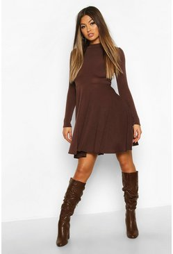 Chocolate Soft Knit High Neck Long Sleeve Skater Dress
