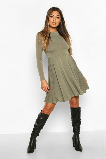 Womens Khaki Soft Knit High Neck Long Sleeve Skater Dress