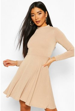 Stone Soft Knit High Neck Long Sleeve Skater Dress
