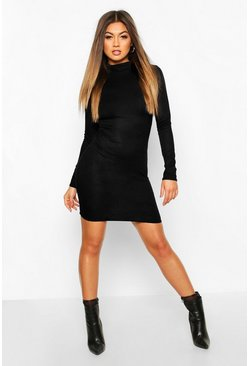 Womens Black Rib Knit Roll Neck Long Sleeve Mini Dress