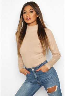 Womens Stone Rib Knit High Neck Long Sleeve Bodysuit