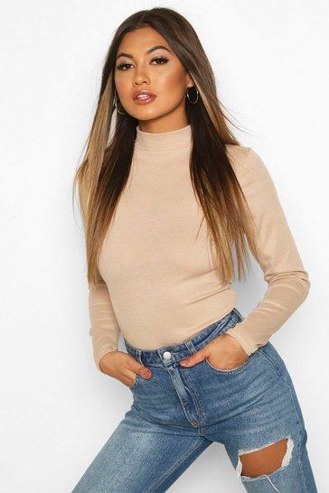 Stone Rib Knit High Neck Long Sleeve Bodysuit