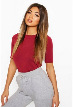 Womens Berry Soft Knit Crew Neck Longline Top
